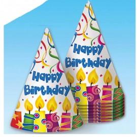 Bolsa de 8 Gorros de Cumpleaños