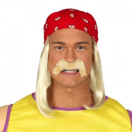 Pañuelo rojo con peluca y bigote