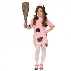 Disfraz de Cavernícola Pink para niña