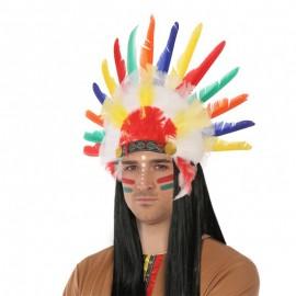 Penacho con Plumas de Indio para adultos