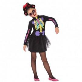 Disfraz de esqueleto multicolor para niña