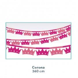 Guirnalda de papel con coronas rosas de princesa