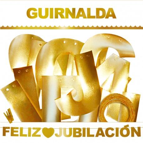 """Guirnalda """"Feliz Jubilación"""" dorada"""