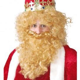 Peluca y barba de Rey Mago Gaspar para adulto