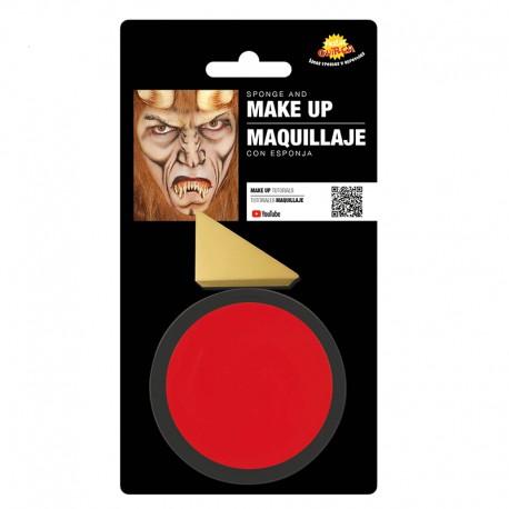 Maquillaje rojo con esponja