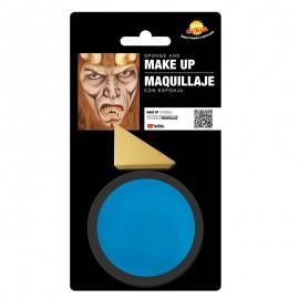 Maquillaje de color azul con esponja