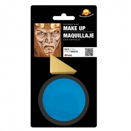 Maquillaje azul con esponja