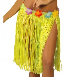 Falda Hawaiana de color amarillo para mujer