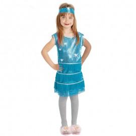 Disfraz de Charleston Azul para niña